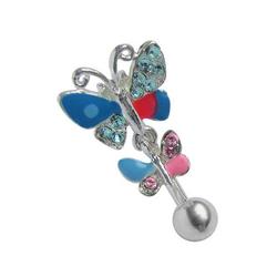 Adelia´s Bauchnabelpiercing Bauchnabelpiercing, 316l Stahl Piercing Stecker doppel Schmetterling bunt