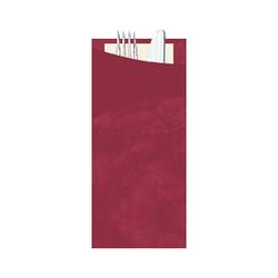 DUNI Sacchetto Serviettentaschen mit Besteck, Praktische Besteckserviettentaschen 20 x 8,5 cm, Farbe: bordeaux, 1 Karton = 5 x 30 Stück = 150 Serviettentaschen