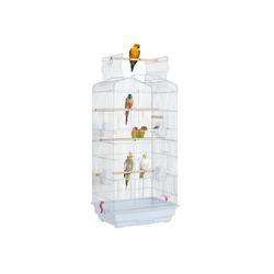 Yaheetech Vogelkäfig, Käfig Vogelvoliere Vogelhaus für Papagei Wellensittich finken kanarienvögel weiß