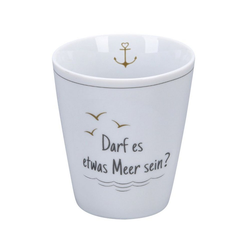Krasilnikoff Vorratsglas Happy Mug DARF ES ETWAS MEER SEIN weiß grau gold mit Anker Becher ohne Henkel