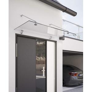Schulte Vordach Überdachung Haustürvordach Glas 140x90cm Echtglas klar Edelstahl matt Punkthalterungssystem