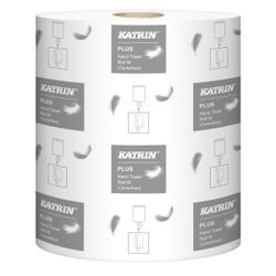 KATRIN Plus M 2 Papierhandtuchrolle, weiß, 2-lagiges Klopapier mit Prägung, 1 Paket = 6 Rollen à 450 Blatt