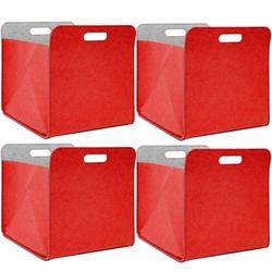 4er Set Filz Aufbewahrungsbox 33x33x38 cm Kallax Filzkorb Regal Einsatz Box Rot