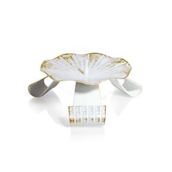 Kommunionkerzenhalter Dreifuß Eisen weiß/gold gelackt mit Dorn Ø 12,5 cm für Kommunionkerzen