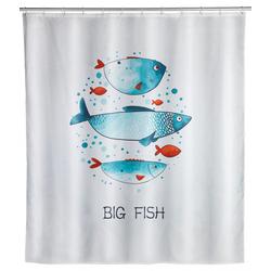 WENKO Duschvorhang Big Fish, Polyester, 180 x 200 cm, waschbar