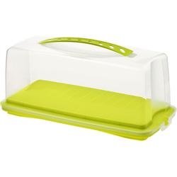 Rotho FRESH Kuchenbehälter, Aus Kunststoff, Maße: 360 x 165 x 165 mm, Farbe: transparent / grün