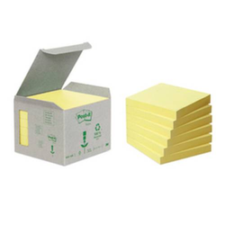 Haftnotiz,m. Z-Faltung,6x100 Blatt,HxB 76x76mm,Altpapier,gelb