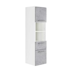 Badhochschrank mit einer Schublade Weiß und Beton Grau