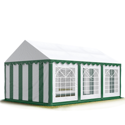 Toolport Partyzelt 4x6m PVC 500 g/m² grün wasserdicht Gartenzelt, Festzelt, Pavillon