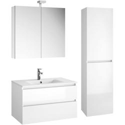 Allibert Badmöbel-Set Alma, (4-St), bestehend aus Waschplatz, Spiegelschrank und Hochschrank weiß
