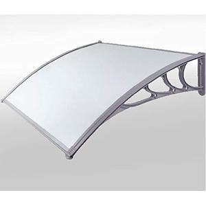 Defacto Vordach Überdachung Haustürvordach Polycarbonat-Solide klar Pultbogenvordach Inkl. Montagematerial Milch-Grau Masse: 80x100cm, 80x120cm, 100x120cm, 100x150cm [DF-800B (80x100cm)