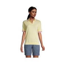 Feinstrick-Poloshirt, Damen, Größe: 48-50 Normal, Gelb, Baumwolle, by Lands' End, Goldenes Kerzenlicht Kontrast - 48-50 - Goldenes Kerzenlicht Kontrast