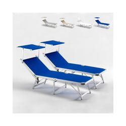 Bain de soleil pliants transats piscine aluminium lits de plage Gabicce offre pour 2 pièces | Bleu