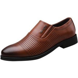 Herren Lederschuhe Casual Pointed Toe Oxford Leder Hochzeitsschuhe Business Schuhe Formale Perforierte Atmungsaktive Herrenschuhe Hohle Einzelschuhe, Gelb, 39 EU