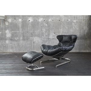 KAWOLA Relaxsessel ROWE, Leder inkl. Hocker versch. Farben schwarz