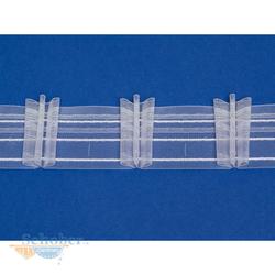 Faltenband Gardinenband Reihband breit weiß transparent, Meterware