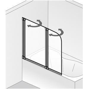 HSK Favorit Echtglas Badewannenaufsatz 1 bewegliches Element, Alu silbermatt 80 x 140 cm 162089-01-50