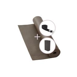 bodhi Yogamatte Yoga Set RISHIKESH Yogamatte mit Block & Gurt taupe braun