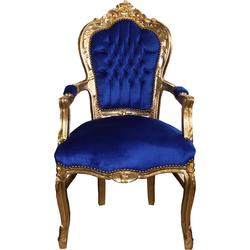 Casa Padrino Barock Esszimmerstuhl Blau / Gold mit Armlehnen - Stuhl - Barockstuhl - Möbel