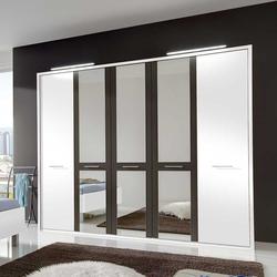 Schlafzimmer Kleiderschrank in Weiß Braun Spiegel