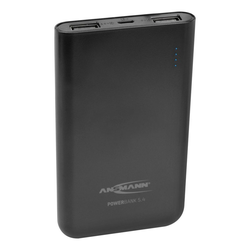 ANSMANN® Mini Powerbank 5000 mAh & 2.1A Ausgang, 2 USB Ports, Anzeige Powerbank 5000 mAh (3.7 V)