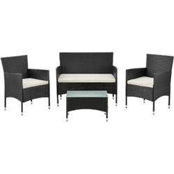 ArtLife Polyrattan Gartenmöbel Sitzgruppe Fort Myers für 4 Personen in schwarz