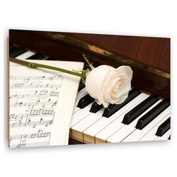 HomeLiving Deco-Panel weiße Rose auf dem Klavier, Motiv siehe Bild/Beschreibung