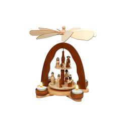 SIGRO Weihnachtspyramide Holz Teelicht-Tischpyramide mit Heiliger Familie