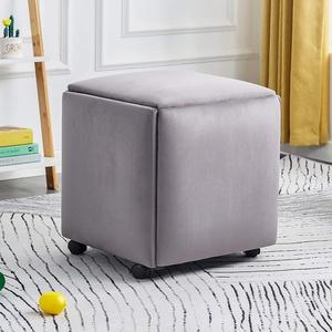 WLWLEO 5-in-1 Multifunktions Cube Hocker Ottoman Fußbank Mobile Hocker mit 4 Rollen Polsterkosmetiktisch Hocker Sofas Hocker Schuh Ändern Hocker,Grau