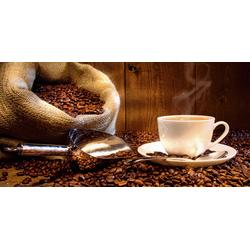 Home affaire Glasbild S. Cunningham: Kaffeetasse und Leinensack mit Kaffeebohnen, 60/30 cm