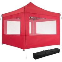 Tectake Faltpavillon 3,00 x 3,00 m inkl. 4 Seitenteile rot