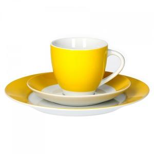 Van Well Kaffeeservice 18-TLG. für 6 Personen Serie Vario Porzellan - Farbe wählbar, Farbe:gelb
