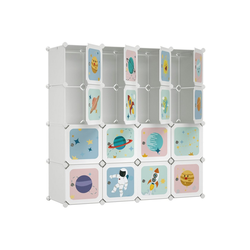 SONGMICS Kleiderschrank LPC905W01 DIY-Aufbewahrungsschrank, für hängende Kleidung, für Kinder, mit 16 Würfeln, weiß