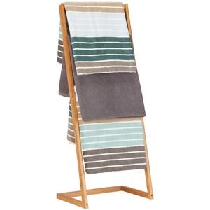 Relaxdays Handtuchhalter freistehend, Leiterregal mit 4 Handtuchstangen, Handtuchständer Bambus, HBT: 100x40x30cm, natur