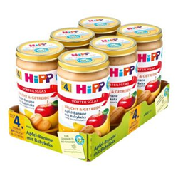 HiPP Bio Apfel-Banane mit Babykeks 250 g, 6er Pack