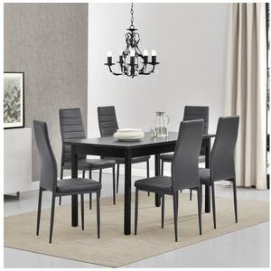 en.casa Essgruppe, (Set, 7-tlg., Esstisch mit 6 Stühlen), Stavanger 140x60cm Küchentisch Kunstleder Stühle schwarz/grau grau