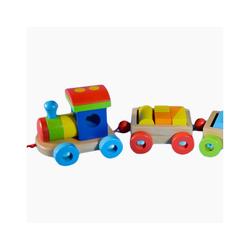 goki Spielzeug-Eisenbahn Holzeisenbahn Orlando, aus Holz und jede Menge Bausteinchen