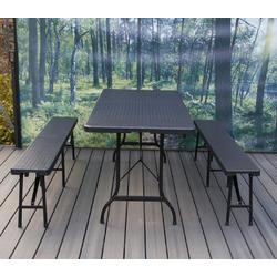 NATIV Garten Bierzeltgarnitur, (Set, 3-tlg), Sitzgarnitur, Rattan-Optik, 1 Tisch + 2 Bänke Bierzeltgarnitur