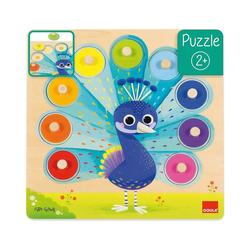 Goula Steckpuzzle Holzpuzzle Pfau, Puzzleteile
