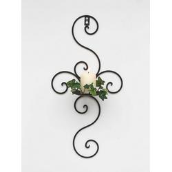 DanDiBo Wandkerzenhalter Wandkerzenhalter Metall Antik Schwarz 12112 Kerzenhalter Wand 48 cm Schmiedeeisen