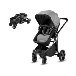 COSTWAY Kinder-Buggy Babywagen Sportwagen, verstellbar, mit Ablagekorb grau