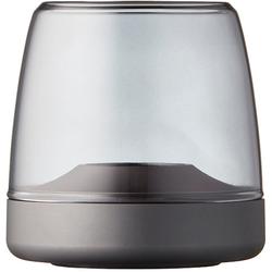 kooduu Windlicht Glow 10, Luxuswindlicht, aus gebürstetem Aluminum und Rauchglas grau