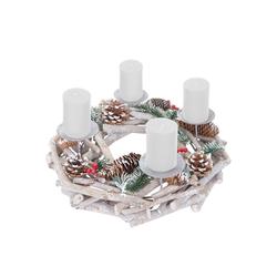 MCW Adventskranz T867-R, Ø 35 cm, Mit 4 Kerzenhaltern, Aufwendig geschmückt weiß 40 cm x 12 cm x 40 cm