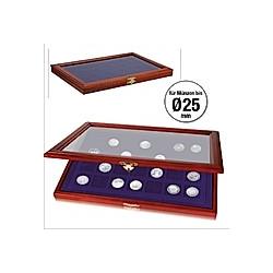 Münzen-Vitrine für 70 Münzen bis Durchmesser 25 mm