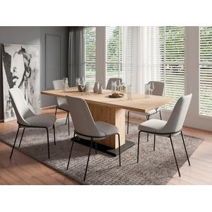 Homexperts Essgruppe Aiko, (Set, 5-tlg., Esstisch mit 4 Stühlen), Tisch mit Auszugsfunktion, Breite 160-200 cm