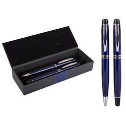 Füller und Kugelschreiber mit Etui, blau