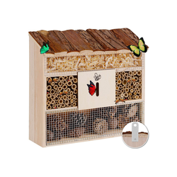 KESSER Insektenhotel, aus Holz naturbelassenes Insekten Hotel für Fluginsekten für Bienen Marienkäfer Schmetterlinge Fliegen Insektenhaus Nistkasten Brutkasten braun 10 cm x 31 cm x 31 cm