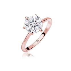 Elli Fingerring Verlobungsring Kristalle 925 Silber, Verlobungsring rosa 52
