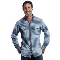 Langarmhemd im Westernlook Engbers Enzianblau