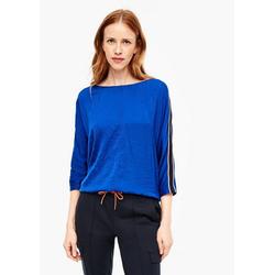 s.Oliver 3/4-Arm-Shirt Fabric-Mix-Shirt mit Tape (1-tlg) Tape blau 34